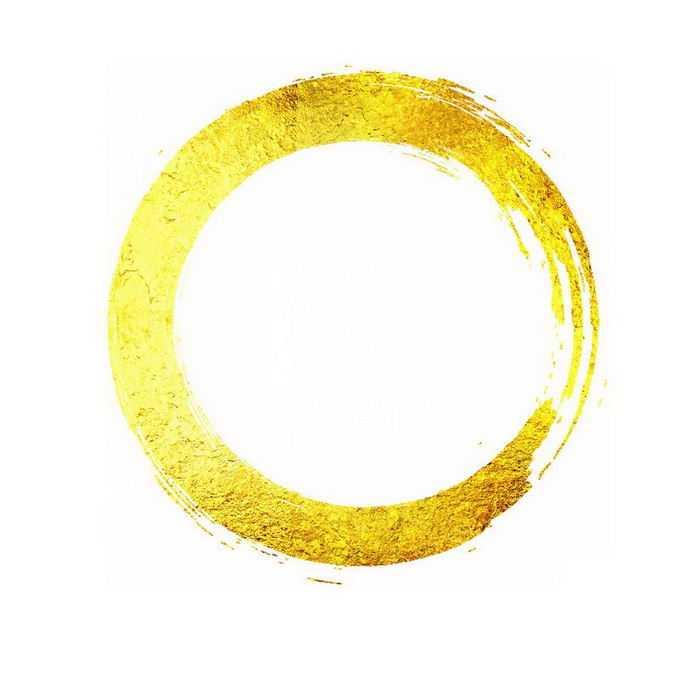 金色金箔笔刷纹理圆形文本框装饰2711967免抠图片素材