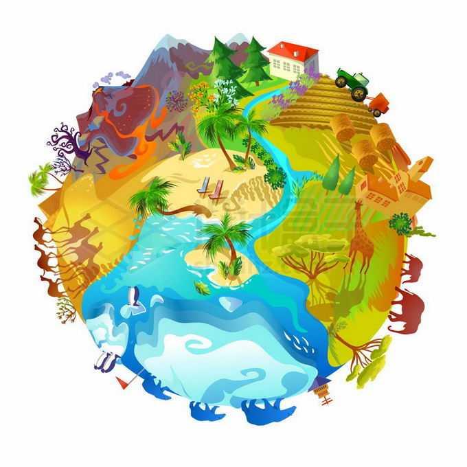 火山海洋河流农田雪地沙漠热带草原等漂亮的卡通地球插画4755719矢量图片免抠素材免费下载