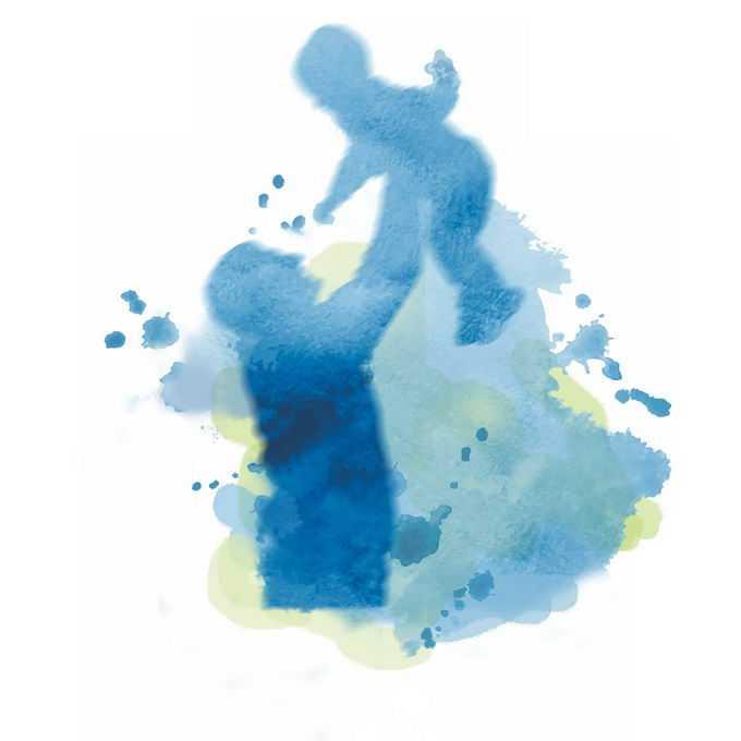 父亲节抱着孩子高高举起来的爸爸剪影水彩画插画2250781矢量图片免抠素材