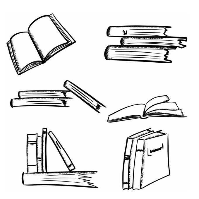 6款手绘涂鸦风格书本书籍5187183免抠图片素材
