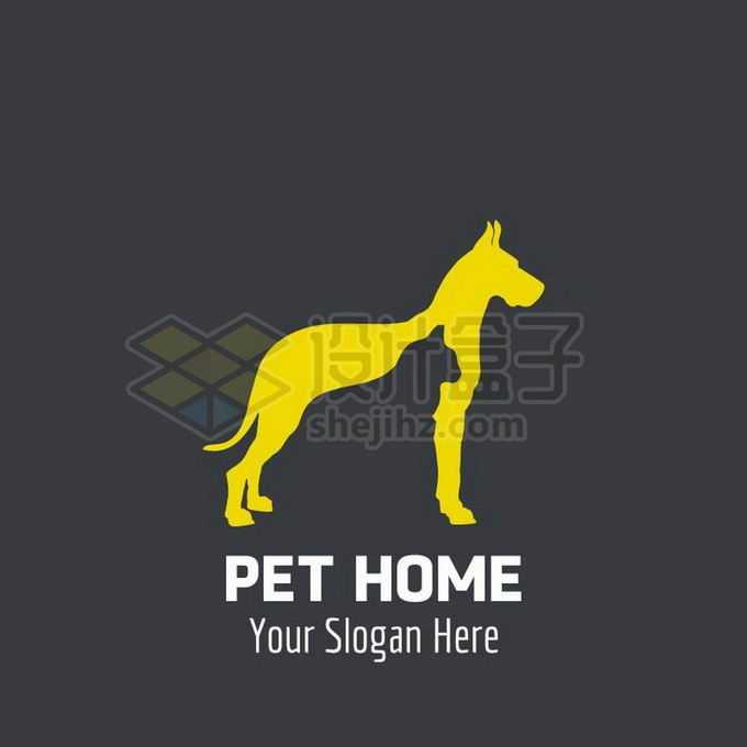 狗狗和猫咪重影创意宠物logo标志设计4434445矢量图片免抠素材