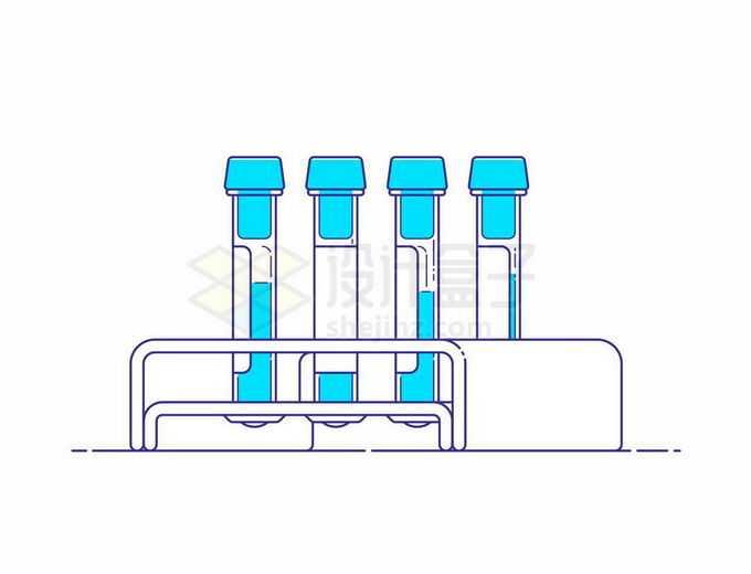 线条彩绘风格试管架上的试管和试验品样本5903418矢量图片免抠素材免费下载