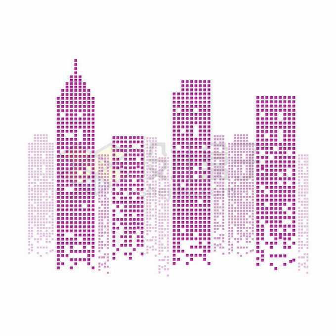 紫色方块组成的城市天际线高楼大厦建筑图案4237239矢量图片免抠素材