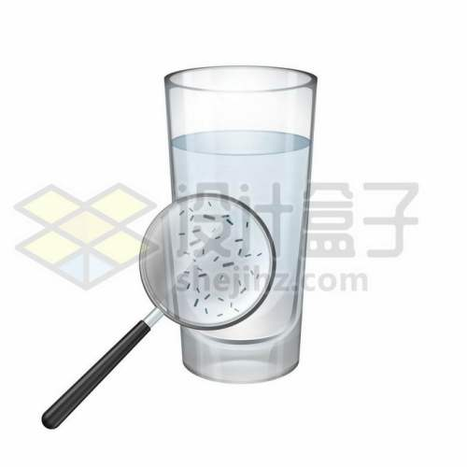 一杯清水中通过放大镜看到的细菌和杂质2328157矢量图片免抠素材免费下载