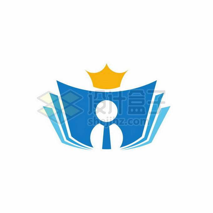 蓝色书本和小人儿以及皇冠创意文化教育类logo标志设计4347481矢量图片免抠素材