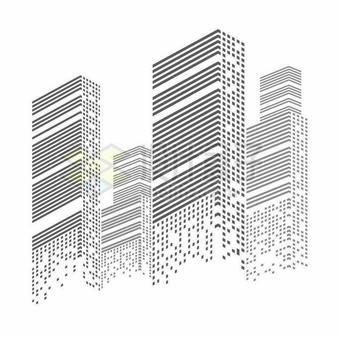 黑色方块和线条组成的城市天际线高楼大厦建筑图案2990442矢量图片免抠素材