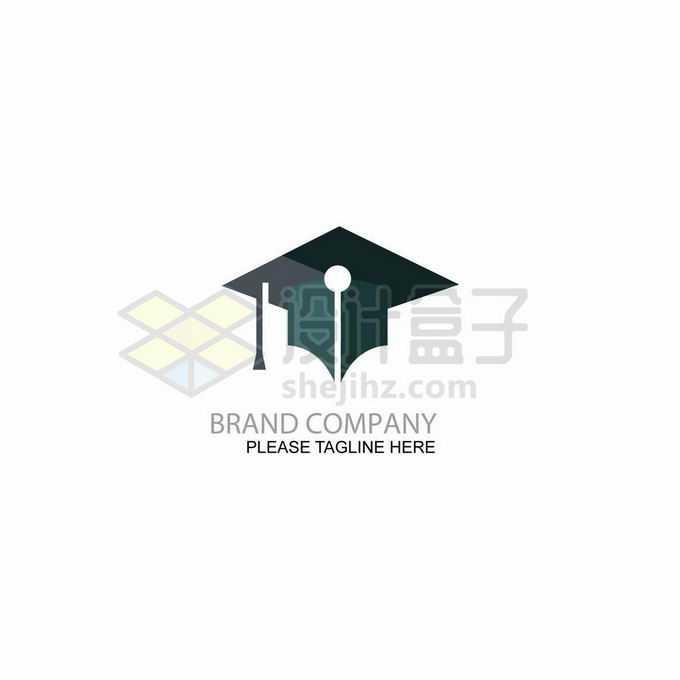 博士帽和钢笔笔头合二为一创意教育学校培训机构logo标志设计6648163矢量图片免抠素材
