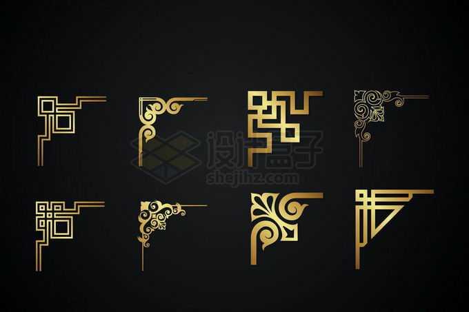 8款金色金属光泽复古直角框架几何形状艺术花纹装饰7392741矢量图片免抠素材免费下载