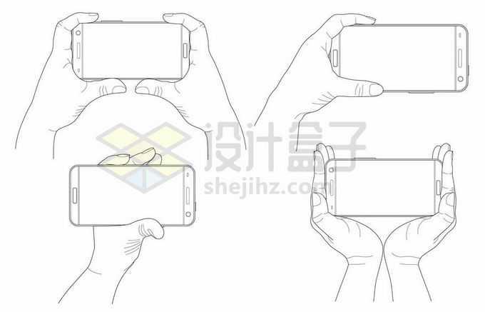 各种操作手机的手势手绘线条插画3388107矢量图片免抠素材免费下载