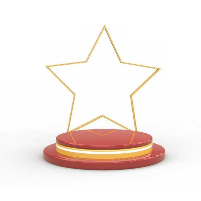 红色黄色发光的3D立体圆形舞台展台和空心金色五角星8018776矢量图片免抠素材