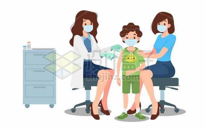 卡通女医生正在给儿童打针注射疫苗医疗插画5402511矢量图片免抠素材免费下载