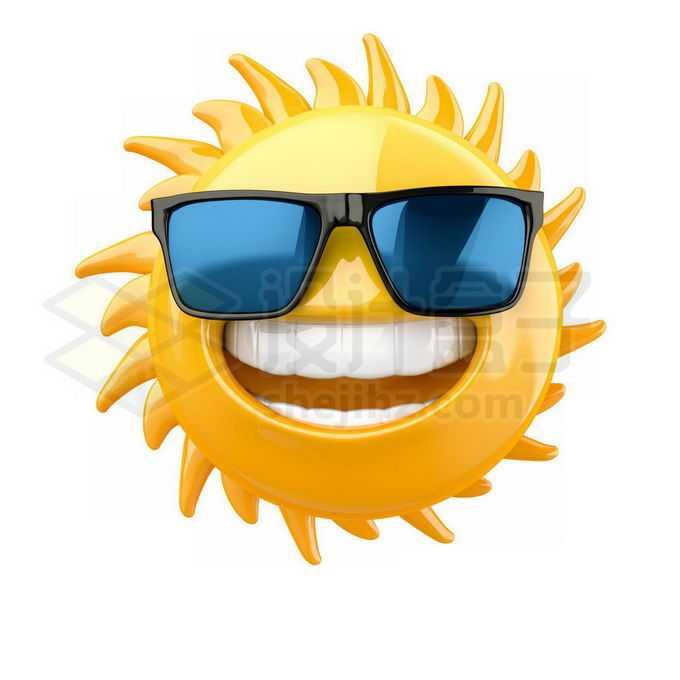 戴着太阳镜的3D立体卡通太阳表情包5503432免抠图片素材免费下载