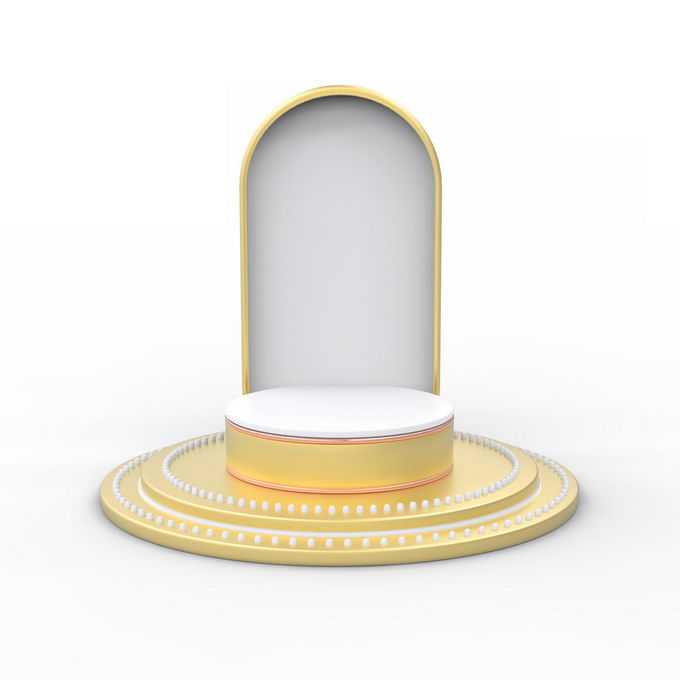 3D立体金色圆形展台舞台底座和拱门6450873矢量图片免抠素材