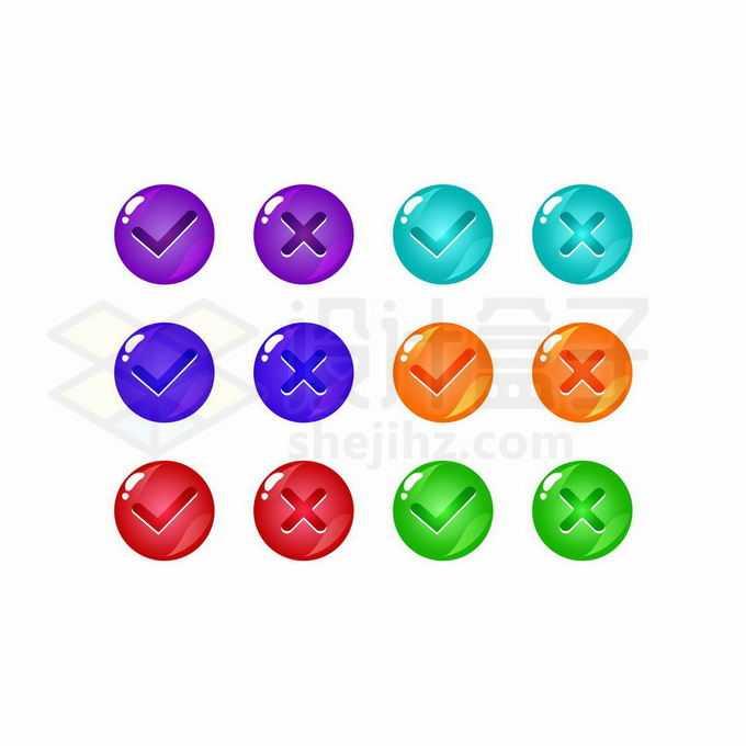 6款卡通对号错号圆形水晶按钮游戏按钮设计6919247矢量图片免抠素材免费下载