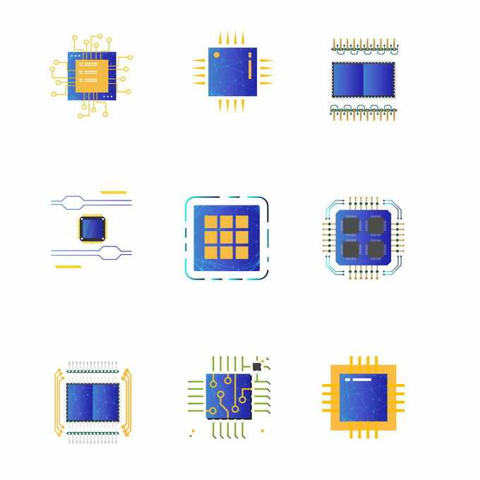 9款电脑芯片CPU处理器图标3844828矢量图片免抠素材免费下载