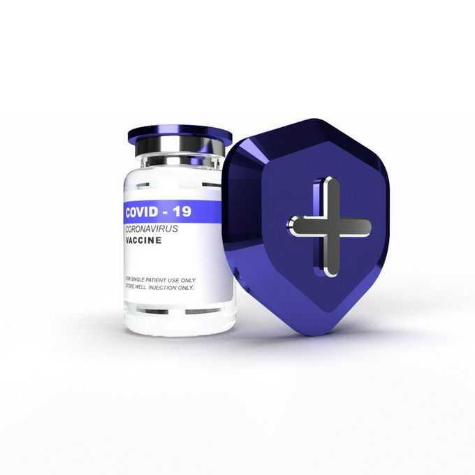 躲在盾牌后面的新冠疫苗西林瓶医疗用品5503797免抠图片素材