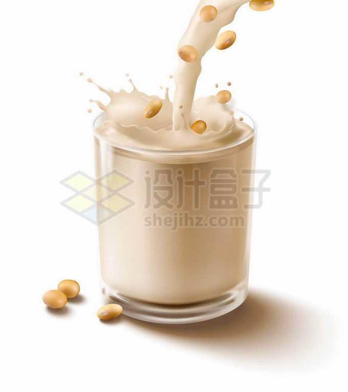 倒入玻璃杯中的豆浆美味饮料4146147矢量图片免抠素材