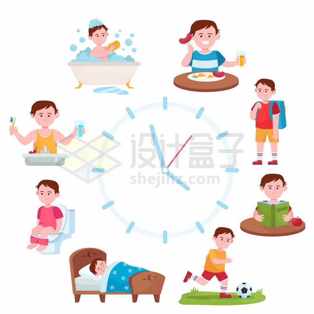学生时间表每日作息时间安排按时起床吃饭上学睡觉7694085矢量图片免抠素材