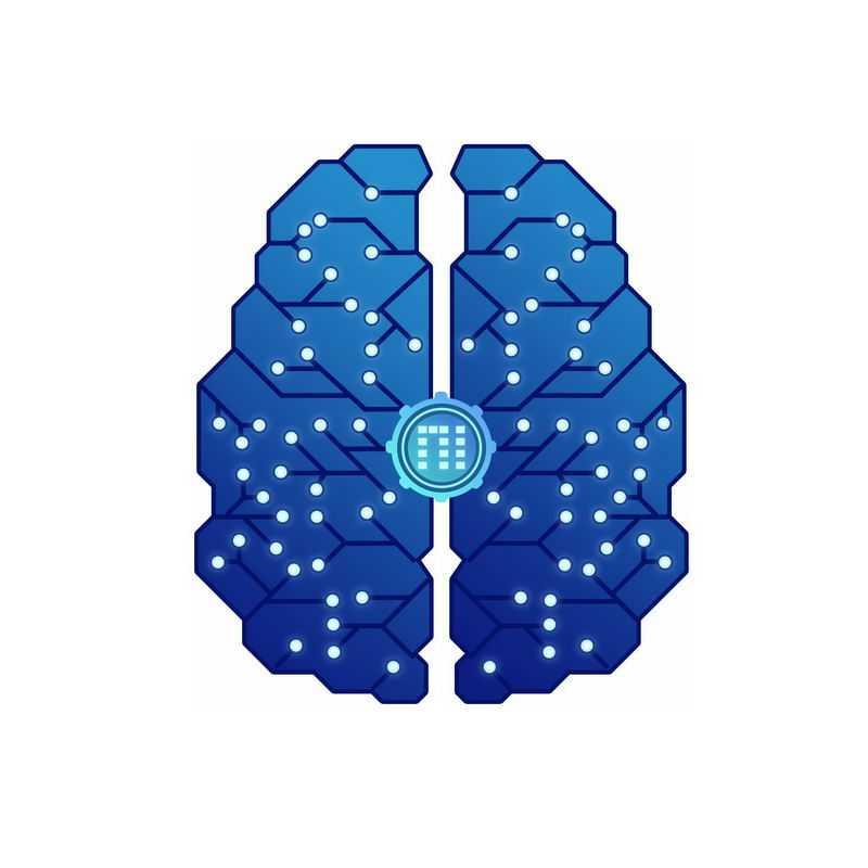 深蓝色多边形组成的科技风格大脑象征了人工智能技术5635290免抠图片素材