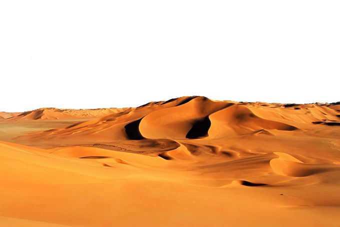 沙漠中一望无垠的漫漫黄沙和沙丘景观风景7754215png免抠图片素材
