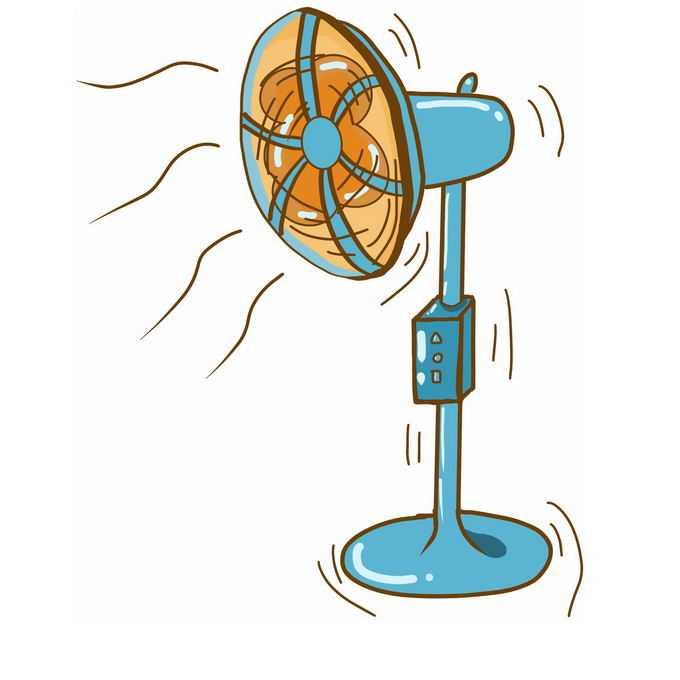 夏天里卡通绿色的落地电风扇正在吹着凉风2608446免抠图片素材