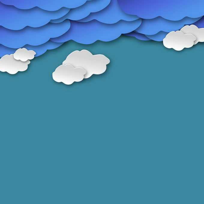 剪纸叠加风格蓝色和白色云朵阴天天气9293819免抠图片素材