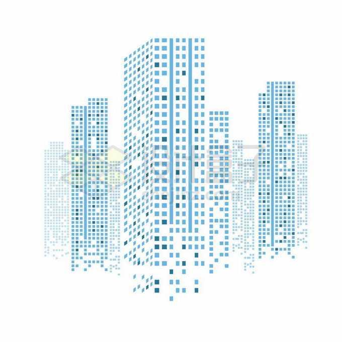 蓝色方块和线条组成的城市天际线高楼大厦建筑图案1623458矢量图片免抠素材