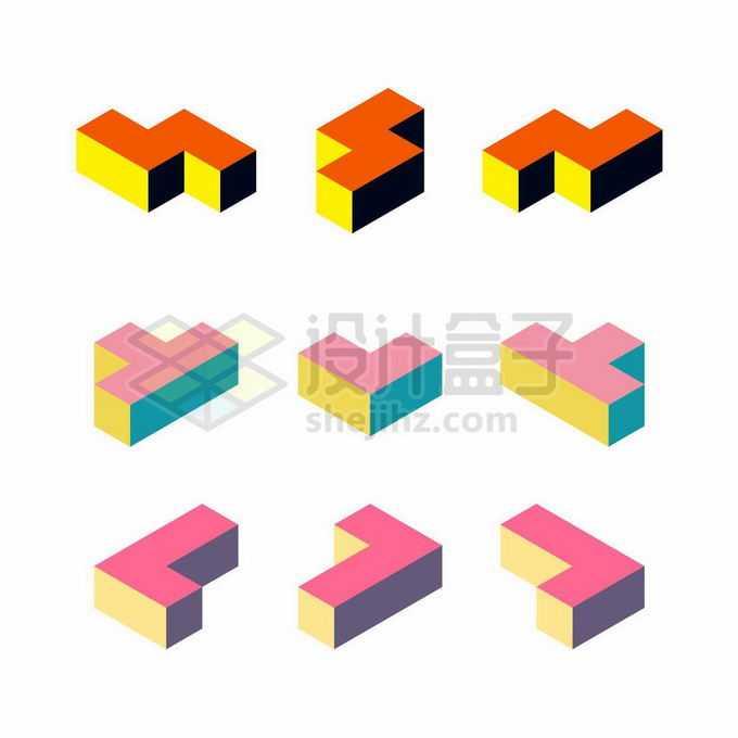 12款彩色3D立体俄罗斯方块形状4341007矢量图片免抠素材