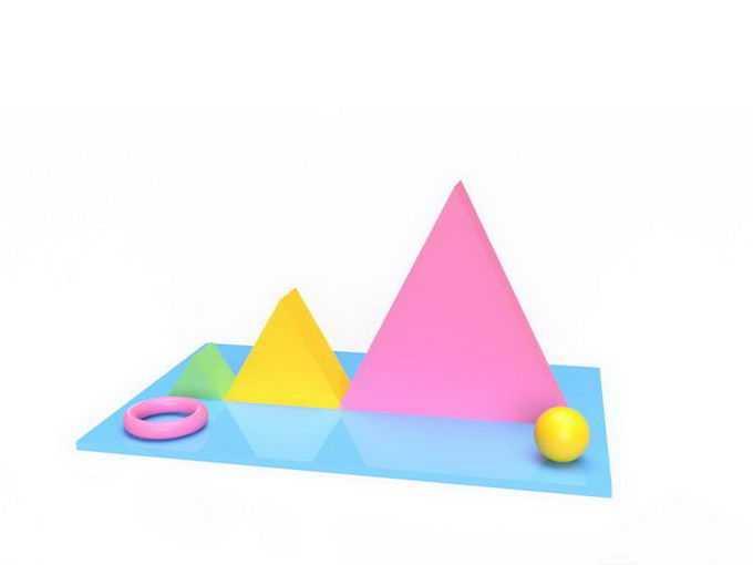 3D立体风格三角形和圆环球形4181419免抠图片素材