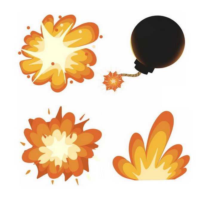 3款卡通爆炸效果漫画炸弹6018130免抠图片素材