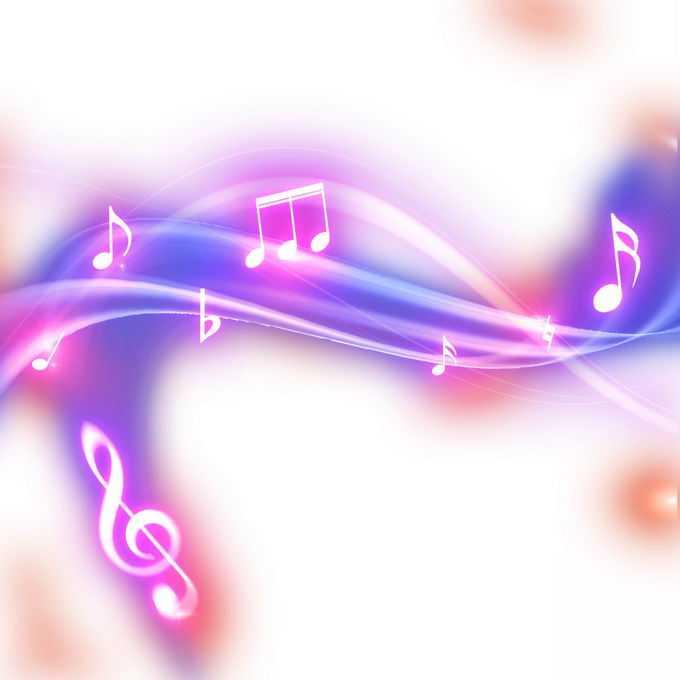 跳动的紫色音乐音符发光绚丽五线谱效果1075234免抠图片素材