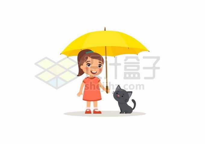 卡通女孩打着黄色雨伞保护小猫咪9453027矢量图片免抠素材免费下载