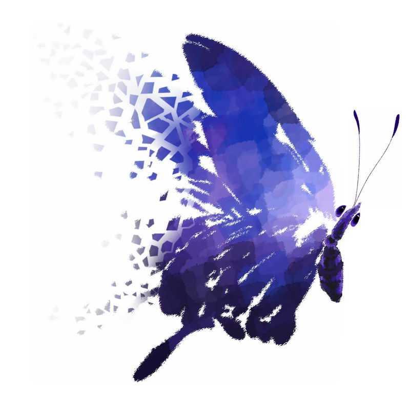 蓝紫色的抽象风格蝴蝶水彩插画9409608免抠图片素材