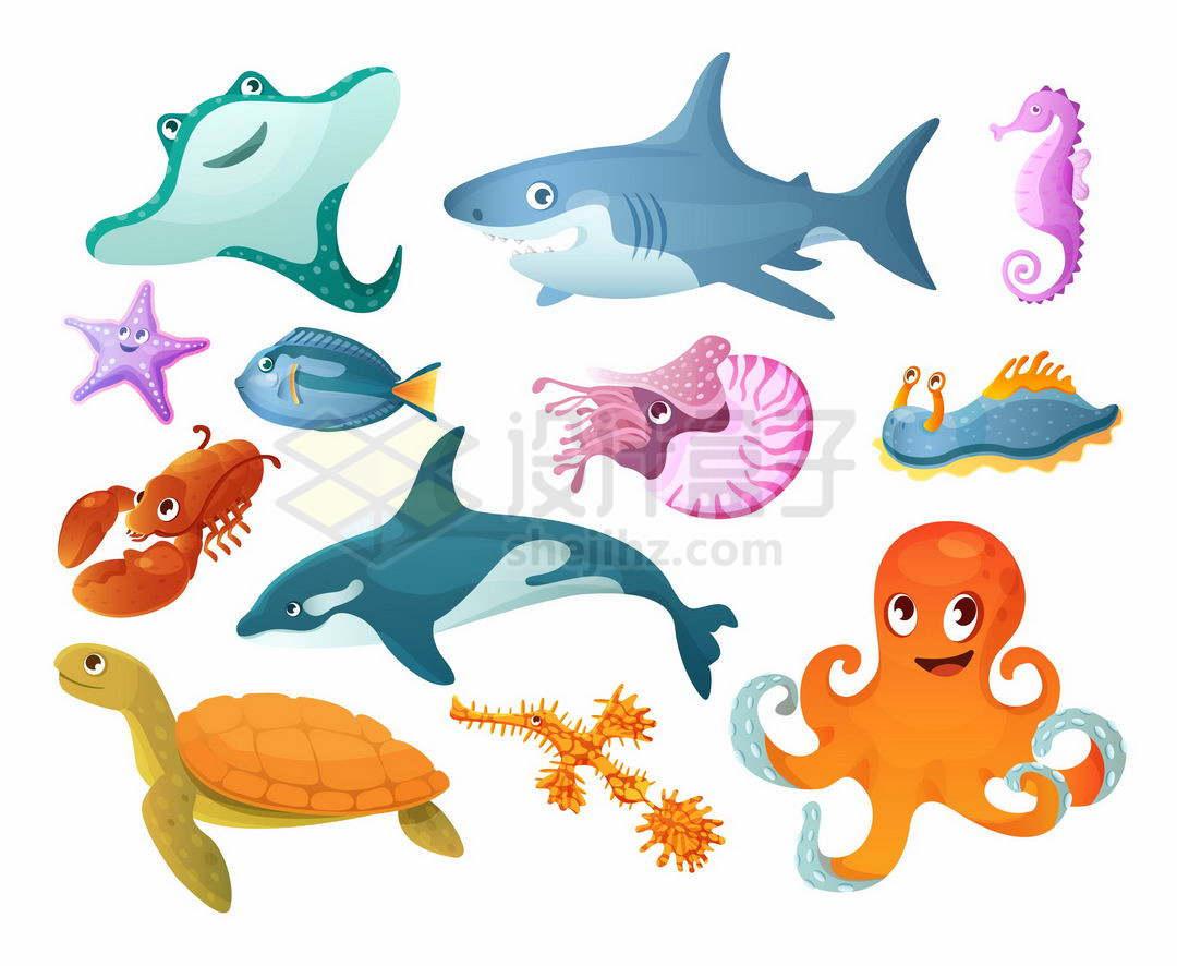 卡通魔鬼鱼蝠鲼大白鲨蓝唐王鱼海马海星鹦鹉螺海豚海参海龟龙虾章鱼等海洋动物8002037矢量图片免抠素材