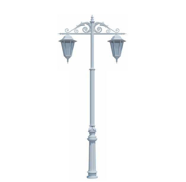 白色复古风格路灯灯杆8120789免抠图片素材