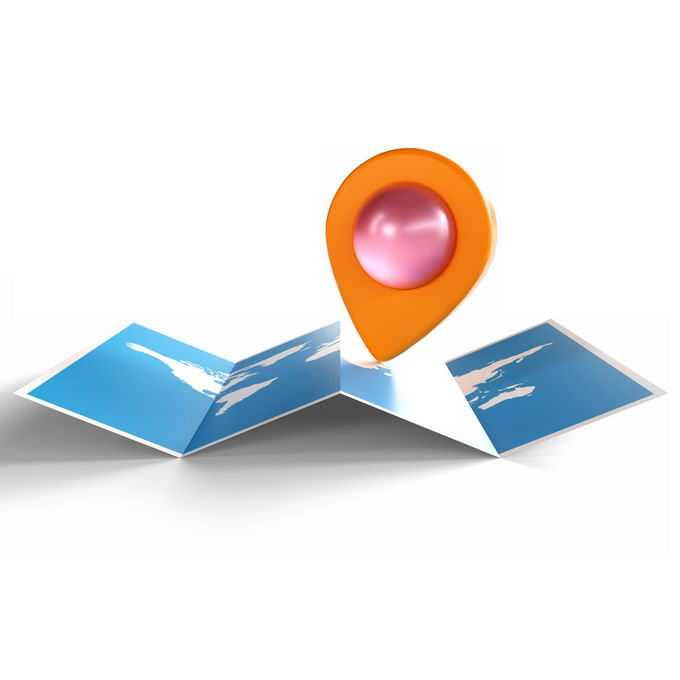 3D立体效果展开的世界地图和定位标志象征了全球旅行5784855矢量图片免抠素材