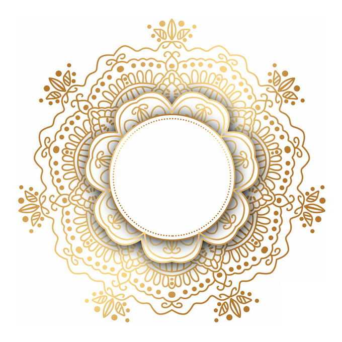 金色宗教复古复杂花纹装饰3434467矢量图片免抠素材