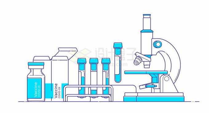线条彩绘蓝色白色光学显微镜和试管架上的血液样本以及疫苗包装瓶5645978矢量图片免抠素材免费下载
