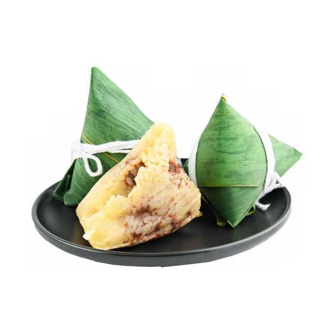 盘子中的3个端午节肉粽子传统美味美食6106672png免抠图片素材