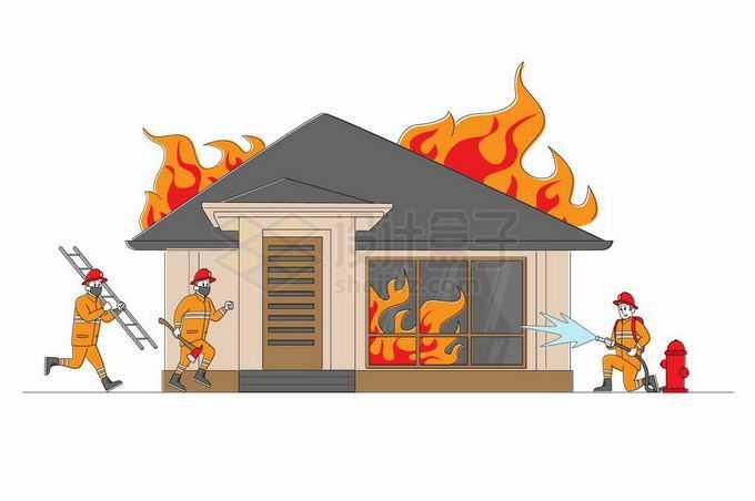 一队卡通消防员正在灭火拯救燃烧的房子4160144矢量图片免抠素材免费下载