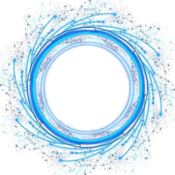 发光的蓝色漩涡圆圈装饰4525621免抠图片素材