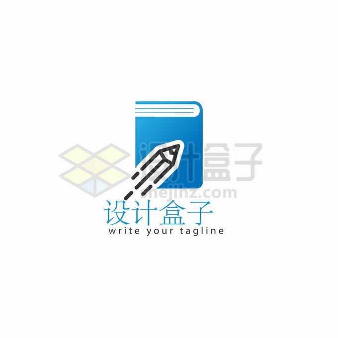 蓝色书本和黑色铅笔创意教育学校logo标志设计1716401矢量图片免抠素材