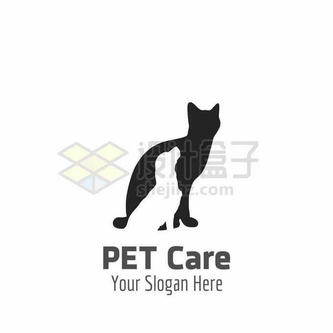 猫咪和狗狗重影创意宠物类logo标志设计6265164矢量图片免抠素材