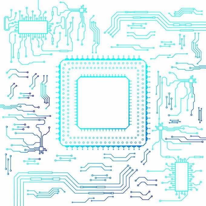 蓝色线条风格电脑电路板电线装饰3842992矢量图片免抠素材免费下载