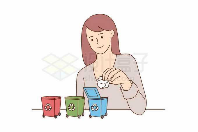 正在向不同的垃圾桶中扔垃圾的分类垃圾手绘线条插画1292396矢量图片免抠素材免费下载