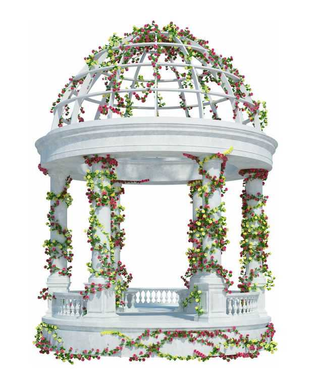 白色大理石欧式圆顶花园凉亭廊架上缠着藤蔓5521600免抠图片素材