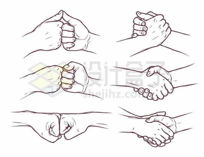 6款相互鼓励握手手势手绘线条插画2293231矢量图片免抠素材