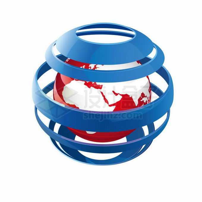 3D立体蓝色条纹状球体包裹着红色地球1182251矢量图片免抠素材免费下载