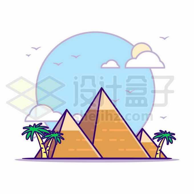 MBE风格埃及金字塔世界旅游风景4809970矢量图片免抠素材免费下载
