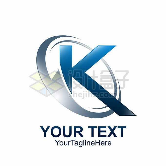 3D立体风格银色光环和蓝色大写字母K标志logo设计9550880矢量图片免抠素材